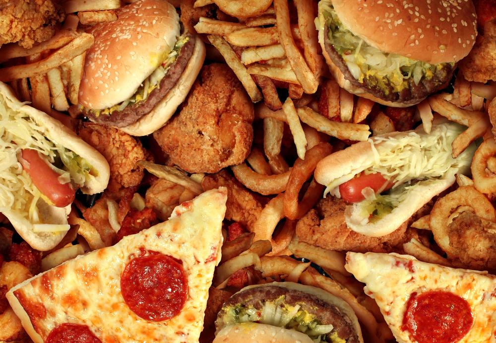 Wallpaper de comidas com Hamburgueres, Pizzas, Batatas Fritas, Frangos Fritos e Cachorros Quentes
